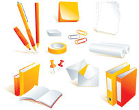 Stationery, office supply items. Stationery, writing materials. Vector illustration, see others from aqua style series Royalty Free Stock Image