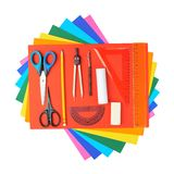 Stationery over the colorful sheets Royalty Free Stock Photography