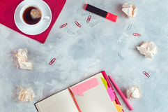 Stationery over concrete background with copy space Stock Photos