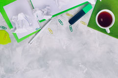 Stationery over concrete background with copy space Royalty Free Stock Photography