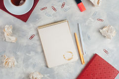 Stationery over concrete background with copy space Royalty Free Stock Image