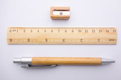 Stationery pencil ruler sharpener on paper Royalty Free Stock Photo