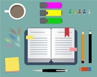 Stationery: daily planner, markers, paper clips and cup of coffee. Vector illustration. It can be used for the websites, registration of magazines, booklets Royalty Free Stock Photos