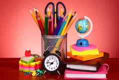 Stationery on red background Stock Photo