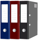 Stationery red, blue, black folders with documents isolated Royalty Free Stock Photo