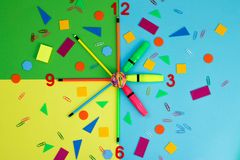 Stationery represent the hands on the clock stock photo