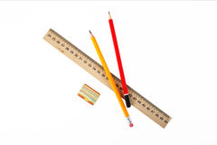 Stationery - Ruler, eraser and pencils Stock Image
