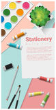 Stationery scene mock up with art supplies on colorful background. Vector , illustration vector illustration