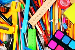 Stationery and school accessories. Stock Photo