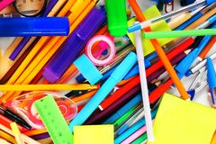 Stationery and school accessories. Royalty Free Stock Images