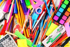 Stationery and school accessories. Royalty Free Stock Photo