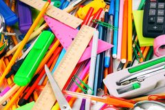 Stationery and school accessories. Royalty Free Stock Photos