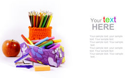 Stationery school with copy space Stock Photos