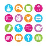 Stationery and school icons. Set of 16 school icons in colorful buttons Royalty Free Stock Photos