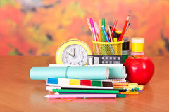 Stationery and school notebooks Stock Photography