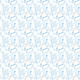 Stationery school seamless pattern. Blue Royalty Free Stock Photos