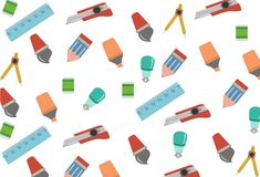 Stationery seamless pattern Stock Images