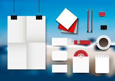 Stationery set on an abstract blue background. Royalty Free Stock Images