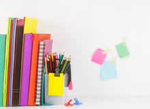 Stationery set with book arrange in row,group of color pencil ag Royalty Free Stock Images