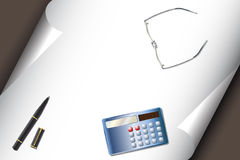 Stationery set with calculator pen glasses Royalty Free Stock Photos