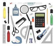 Stationery set. Color. Set of stationery tools. Education equipment color vector illustrations Royalty Free Stock Photos