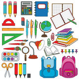 Stationery set colorful. Stationery and office tools, the colorful vector set stock illustration