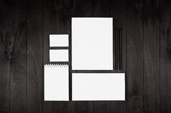 Stationery set for corporate identity on black nior wood background. Mock up for branding, business presentations and portfolios. Stationery set for corporate Stock Photo