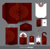Stationery set design with ancient ornament Royalty Free Stock Photos