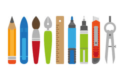 Stationery. Set in flat style Stock Image