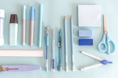 Stationery set flatly on the desk Royalty Free Stock Photography