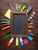 Stationery set frame on wood table Royalty Free Stock Photography