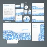 Stationery set with gears Stock Photos