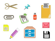 Stationery set icon Stock Photography