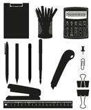 Stationery set icons black silhouette Stock Photography