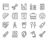 Stationery. Set of linear icons Stock Photos