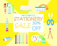 The stationery set on sale stock illustration