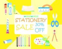 The stationery set on sale stock illustration