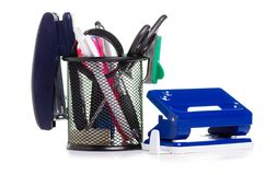 Stationery set in stand stock image