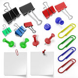 Stationery set of staples, clips and drawing pins Stock Photos