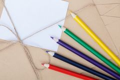 Stationery set for writing and sending letters. stock photo