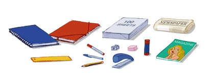 STATIONERY SHOP PRODUCTS. Stationery shop set compounded by school stuff and some magazines Stock Images