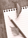 Stationery still life. Sepia toned spiral notepad with pencil and dry leaves still life Stock Photo