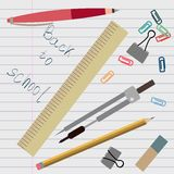 Stationery supplies are on lined sheet. Flat set Royalty Free Illustration