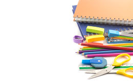Stationery supplies on white background Stock Images