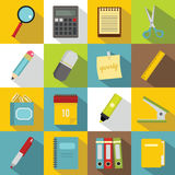Stationery symbols icons set, flat style Royalty Free Stock Photography