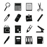 Stationery symbols icons set, simple style Royalty Free Stock Images
