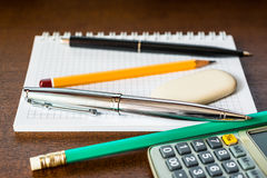 Stationery on the table Stock Photo