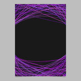 Stationery template with chaotic curved stripes in purple tones at top and bottom - page design on black background. Stationery template with chaotic curved Stock Illustration