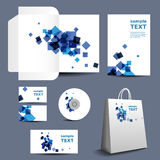 Stationery Template, Corporate Image Design with Abstract Blue Squares Stock Photo