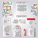 Stationery template design with color square elements Stock Image